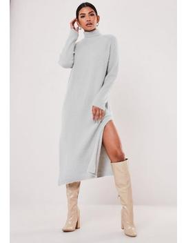 Grey Fluffy Knitted High Neck Midaxi Dress by Missguided
