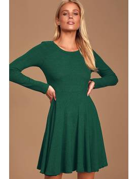 Fit And Fair Hunter Green Ribbed Knit Long Sleeve Skater Dress by Lulus