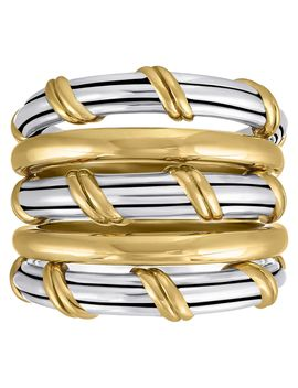 Peter Thomas Roth Sterling And 18 K Clad Hudson Stacked Ring by Peter Thomas Roth