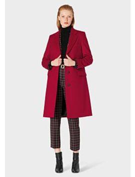 Women's Burgundy Wool Cashmere Epsom Coat by Paul Smith