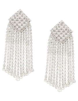 Crystal Square Drop Earrings by Alessandra Rich