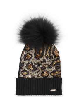 Animal Sequin Beanie Hat W/ Fur Pompom by Bari Lynn