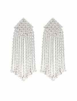 Crystal Embellished Clip On Earrings by Alessandra Rich
