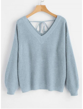 Drop Shoulder V Neck Oversized Sweater   Light Blue M by Zaful