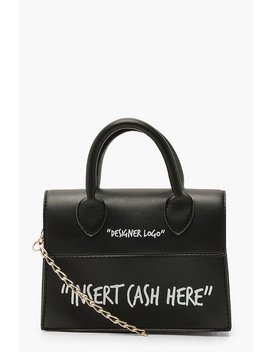 Insert Cash Here Slogan Structured Cross Body Bag by Boohoo