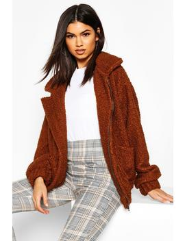 Oversized Teddy Faux Fur Bomber by Boohoo