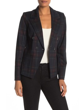 Double Breasted Ponte Knit Plaid Printed Blazer by Bagatelle