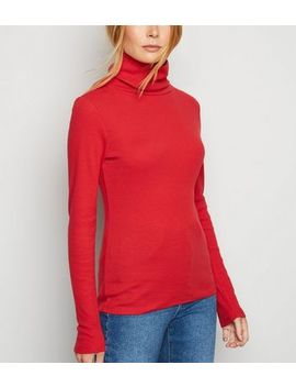 Dark Red Ribbed Long Sleeve Roll Neck Top by New Look