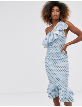 Asos Design Ruffle One Shoulder Midi Dress With Grosgrain Straps In Spot Print by Asos Design