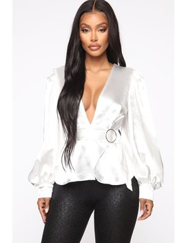 Messages To Him Blouse   White by Fashion Nova