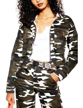 Camo Crop Jacket by Topshop