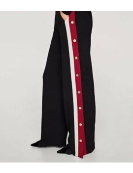 Zara New Trousers Pants Aw '18 With Red White Stripe And Gold Buttons Size Small by Zara