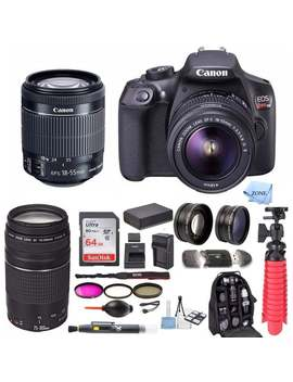 Canon Eos Rebel T6 18.0 Mp Dslr Camera W/ 18 55mm & 75 300mm Lenses & Large Gadget Bag With 64 Gb Sd Card Bundle by Canon