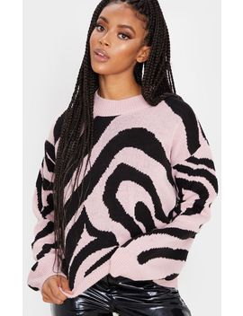 Rose Zebra Stripe High Neck Sweater by Prettylittlething