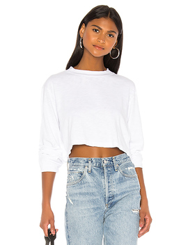 Tokyo Long Sleeve Crop Tee In White by Cotton Citizen