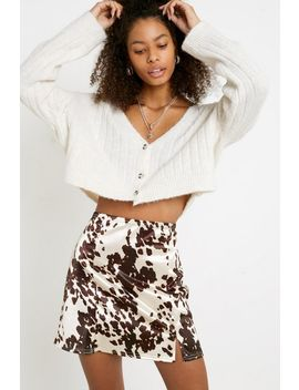 Uo Cow Print Satin Notched Mini Skirt by Urban Outfitters
