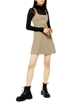 Belted Check Pinafore Dress by Topshop
