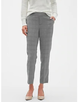 Petite Hayden Pull On Menswear Plaid Tapered Fit Soft Ankle Pant by Banana Republic Factory