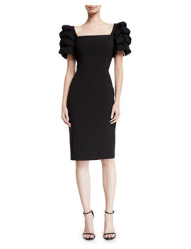 Square Neck Cocktail Dress W/ Looped Sleeves by Badgley Mischka Collection
