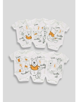 Kids Winnie The Pooh Milestone Bodysuit Gift Box Set (Newborn 6mths) by Matalan