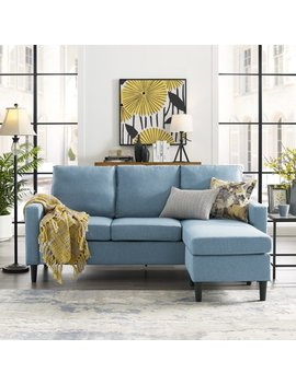 Mainstays Upholstered Apartment Reversible Sectional Light Blue by Mainstays
