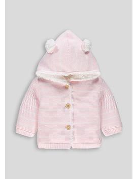Girls Pink Stripe 3 D Ears Cardigan (Tiny Baby 18mths) by Matalan