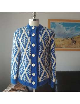 60's Handknit Wool Sweater Med Large by Etsy