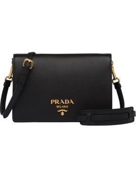 Daino Leather Flap Crossbody Bag by Prada
