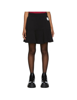 Black Tiger Crest Flare Miniskirt by Kenzo