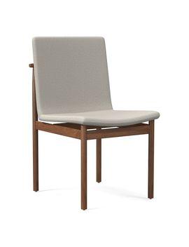 Framework Dining Chair, Basket Slub, Feather Gray, Walnut by West Elm