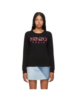 Black 'kenzo Paris' Peonie Slim Sweatshirt by Kenzo