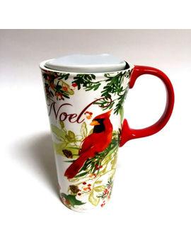 Cypress Noel Christmas Tall Ceramic Travel Mug W Lid Red Bird Floral Holiday New by Ebay Seller