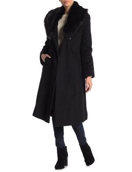 Faux Fur Shawl Collar Wool Blend Wrap Coat by Via Spiga
