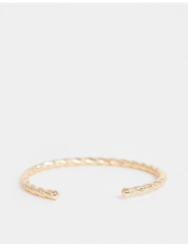 Asos Design Curve Twist Cuff Bracelet In Gold Tone by Asos Design