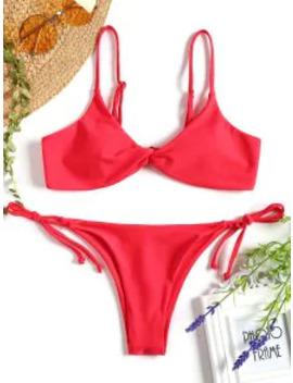 Sale Cami Twist Front String Bikini Set   Red M by Zaful