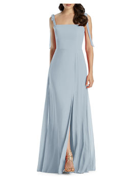 Square Neck Tie Strap A Line Chiffon Dress by Dessy Collection