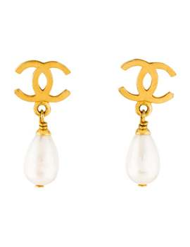 Vintage Faux Pearl Cc Clip On Earrings by Chanel