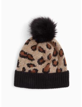 Leopard & Black Faux Fur Pom Pom Beanie by Torrid