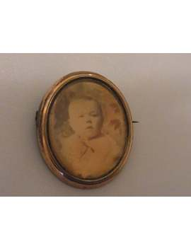 Antique French Rose Gold Plated And Mother Of Pearl Mourning Brooch 1900s French Photo Brooch Traditional Sepia Photograph Baby Boy by Etsy