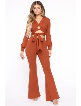 What Goes Around Wrap Front Set   Cognac by Fashion Nova
