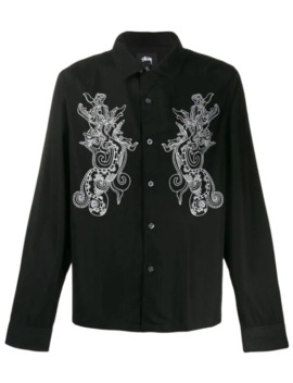 Long Sleeved Embroidered Dragon Shirt by Stussy