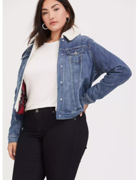 Denim Trucker Sherpa Jacket by Torrid