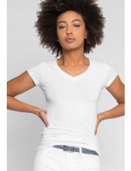 Venus V Neck Tee In White by Wet Seal