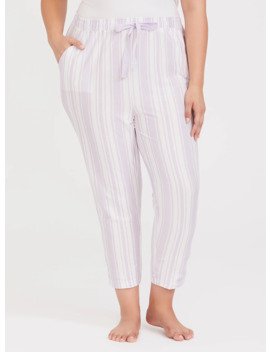 Purple & White Sleep Crop Pant by Torrid
