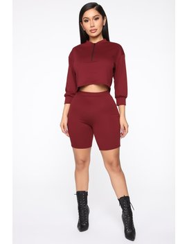 Chicago Short Set   Burgundy by Fashion Nova