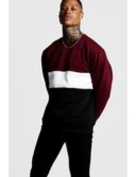 Colour Block Sweatshirt by Boohoo Man
