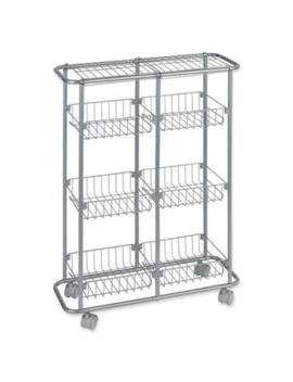 Slim Trolley With 6 Shelves In Silver by Bed Bath And Beyond