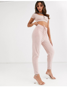 Fashionkilla Skinny Drawstring Velvet Jogger In Rose Smoke by Fashionkilla's