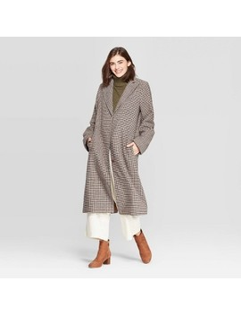 Women's Plaid Single Breasted Top Coat   A New Day™ Brown by A New Day