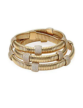 Goldplated Pavé Station Wrap Bracelet by Adriana Orsini